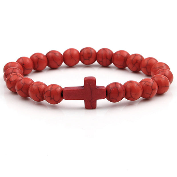 Cross Charm Bead Bracelet