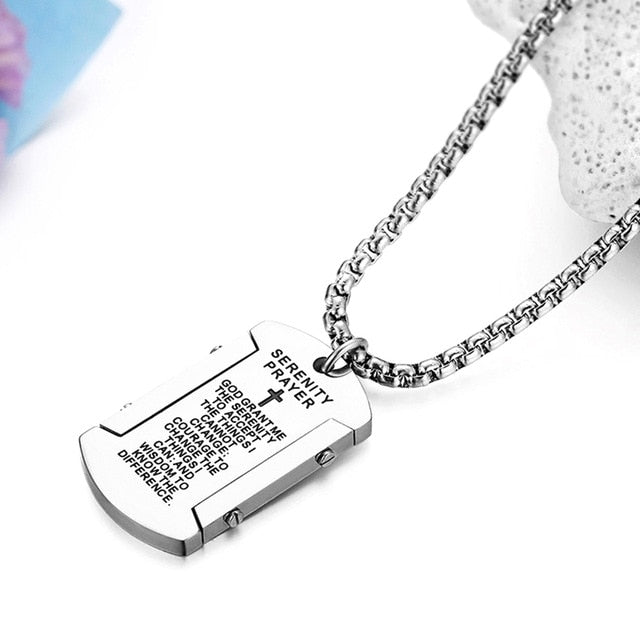 Serenity Prayer Dog Tag Necklace