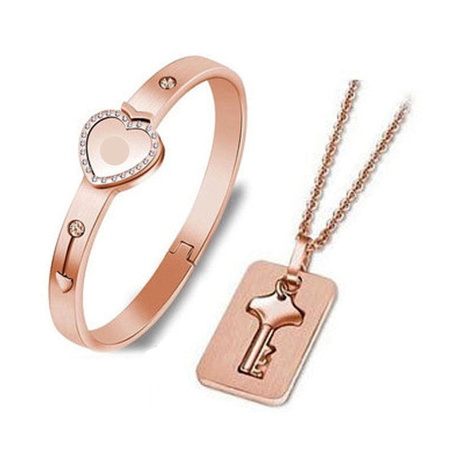 Lock & Key Stainless Steel Bracelet and Necklace Set