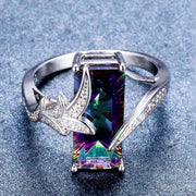 Rainbow Amethyst Crystal Ring