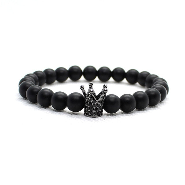 Skull And Crown Bead Bracelet