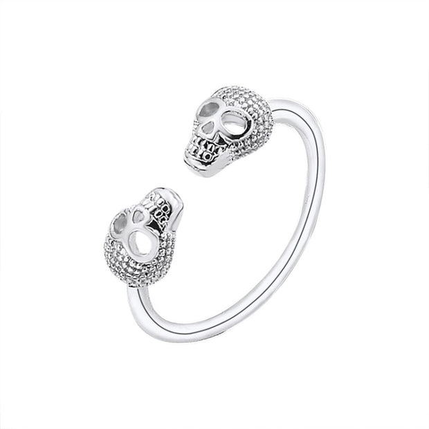 Women's Double Skull Skeleton Ring Jewelry