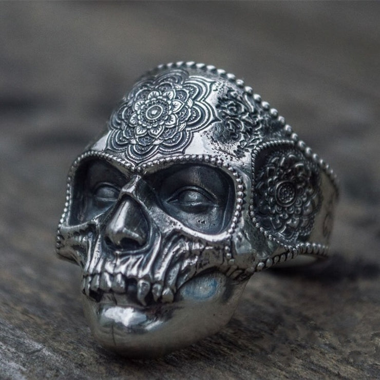 Stainless Steel Heavy Sugar Skull Ring Mandala Flower Santa Muerte