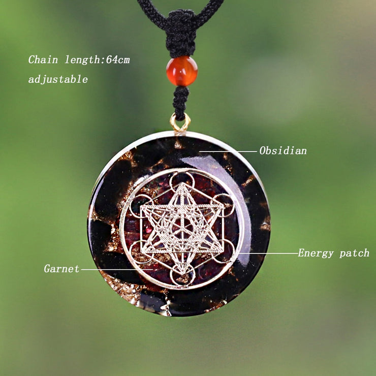 Obsidian & Garnet Orgonite Pendant For Natural Health And Psychic Protection!