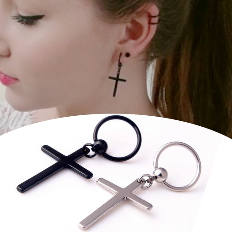 Punk Rock Cross Stud Stainless Steel Earrings