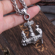 Raven & Wolf On Thor's Hammer Necklace