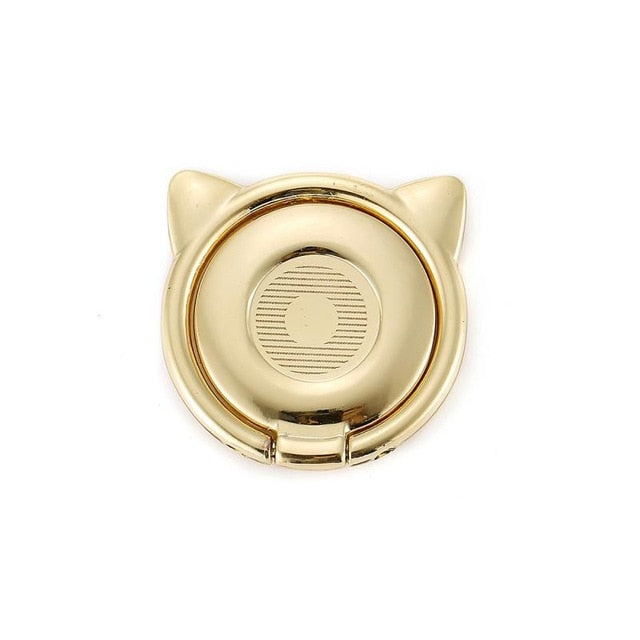 Metallic Cat Ear Finger Rings For Smartphones