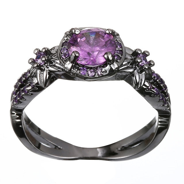Crystal Birthstone Black Plated Rings Collection