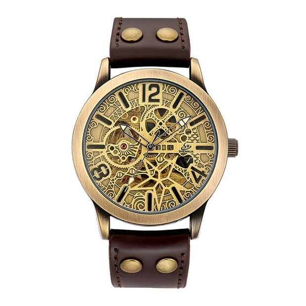 Leather Mechanical Steampunk Watch