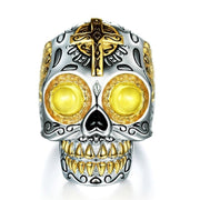 Gothic Gold Sugar Skull Ring