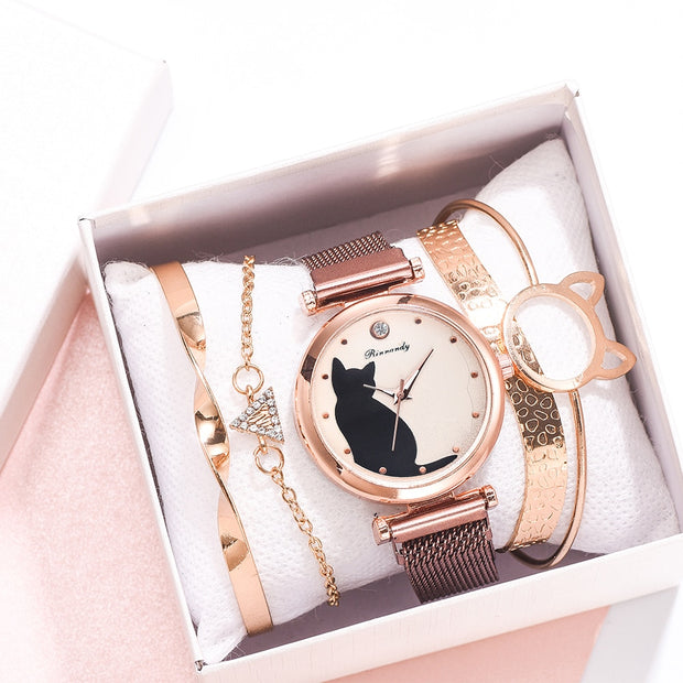 5pcs Cat Watch And Bracelet Set