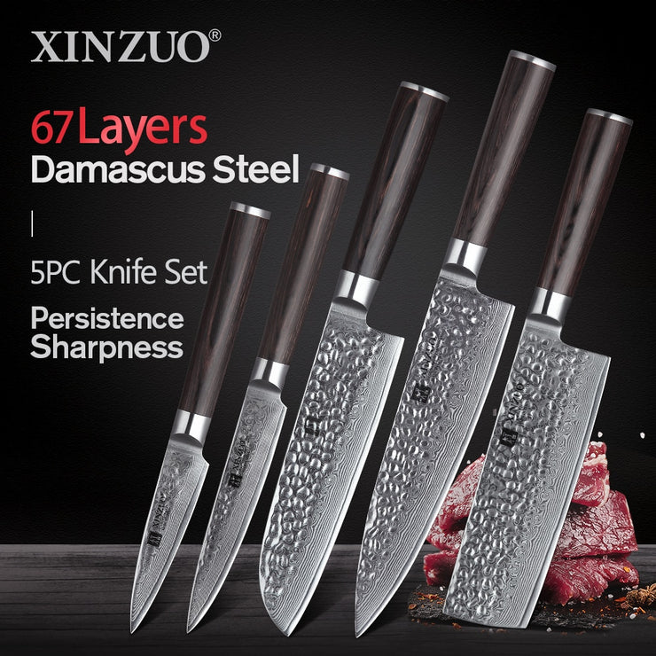 5 Piece Japanese Knife Set VG10 Damascus Steel