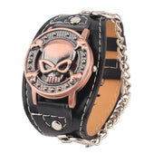 Skull Cover Quartz Watch Cuff Bracelet