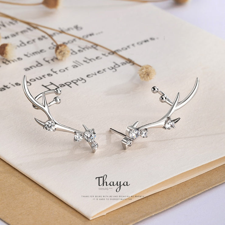 Diamond Studded Antler Earrings