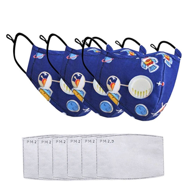 1/3/4pc Boys & Girls Reusable Face Covers with Breathing Valve & Filters
