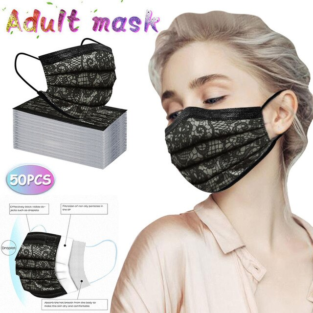 50pc Disposable Three Layer Face Covers