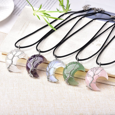 Crescent Moon Crystal Pendants