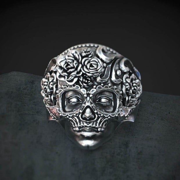 Gothic Rose Sugar Skull Ring