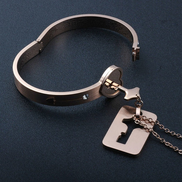 Lock & Key Bracelet & Necklace Couple Sets