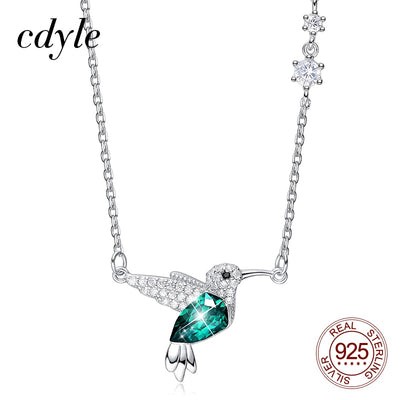 Sterling Silver Crystal Humming Bird Charm Necklace