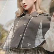 Lolita Dress & Cape Set: Cute Plaid Detective Outfit In Brown & Gray