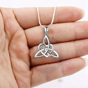 Silver Trinity Knot Heart Necklace