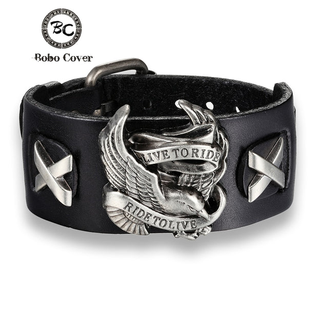 Live To Ride Leather Cuff Bracelets