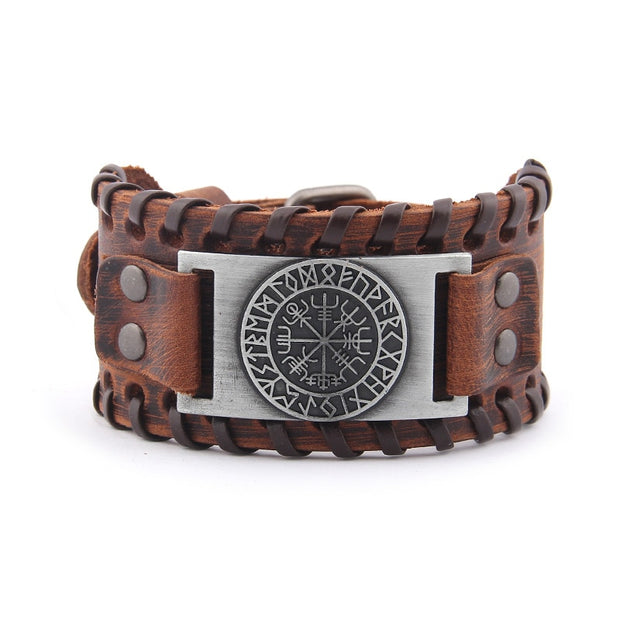 Viking Compass Genuine Leather Bracelet