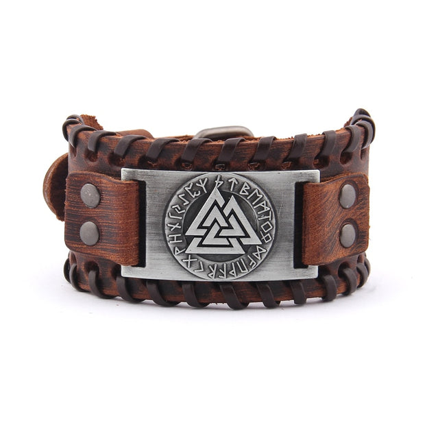Viking Valknut Genuine Leather Bracelet