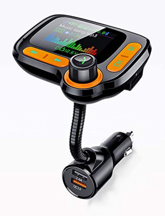 Bluetooth FM Transmitter for Car - Hands-Free Calls - Dual USB ports for charging