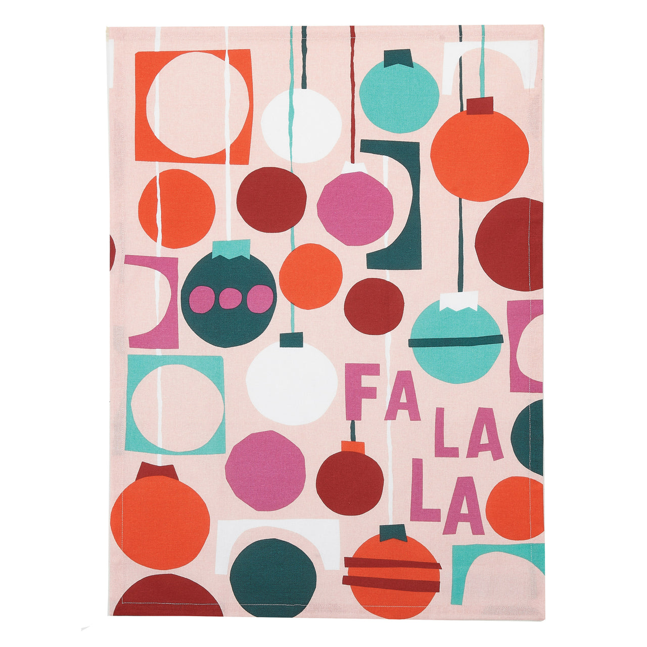 Fa La La Holiday Ornament Kitchen Towel