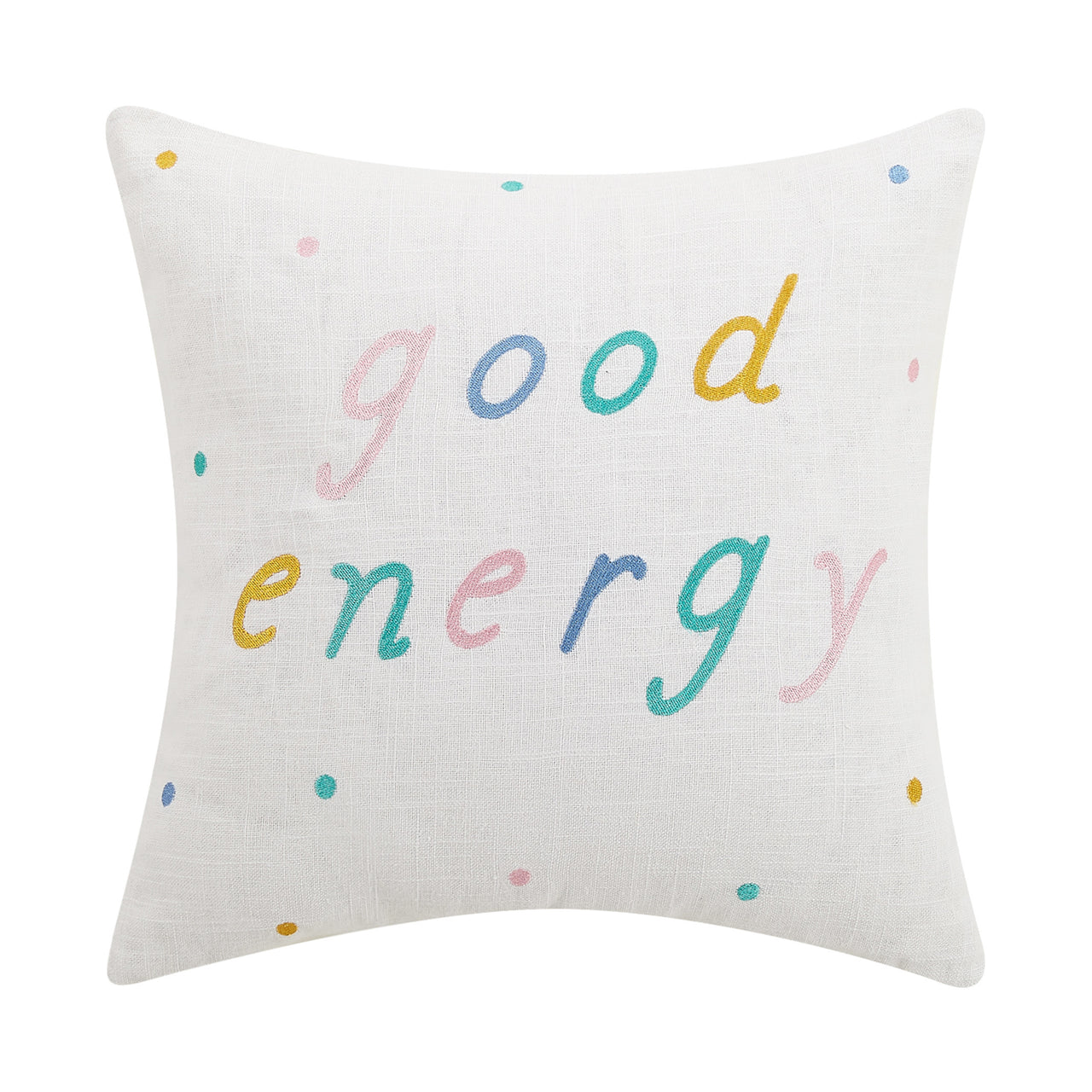 "Good Energy Embroidered Pillow, 16""x16"""