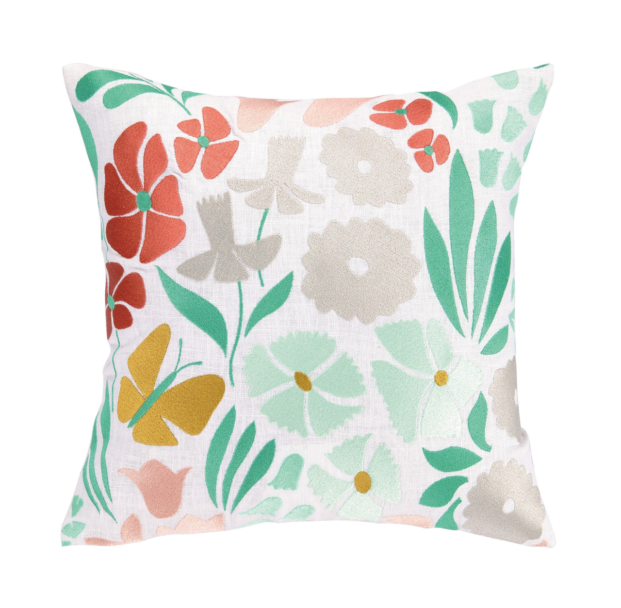 Summer Bloom Embroidered Pillow