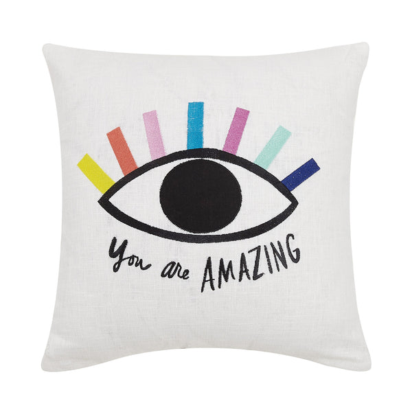 You Are Amazing Eye Embroidered Throw Pillow