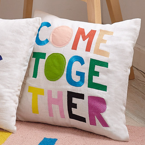 Come Together  Embroidered Throw Pillow