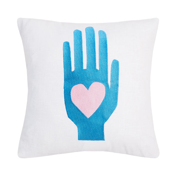 Heart Hand Embroidered Throw Pillow