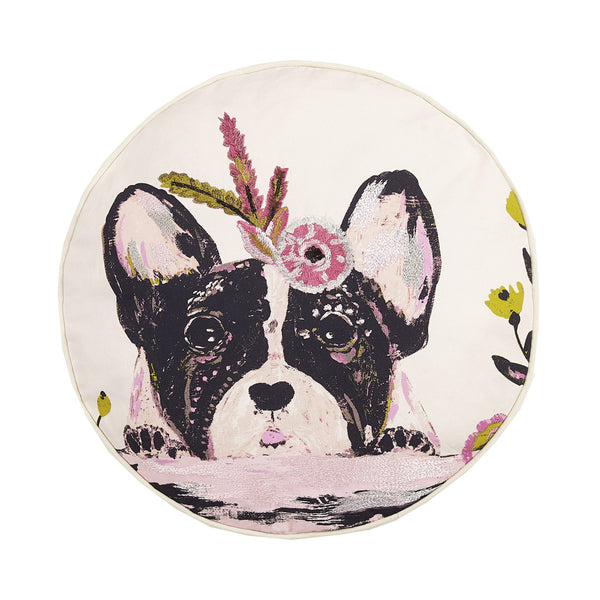 Floral Frenchie Embroidered Throw Pillow