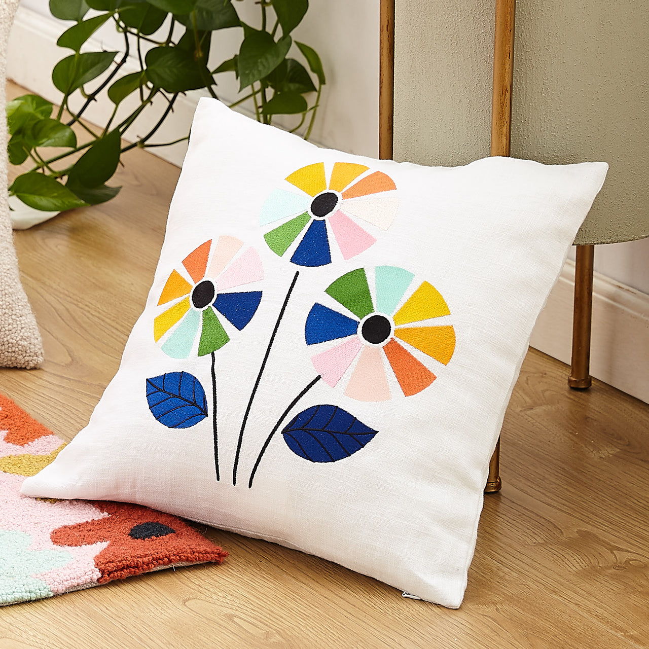 Rainbow Flower Embroidered Throw Pillow