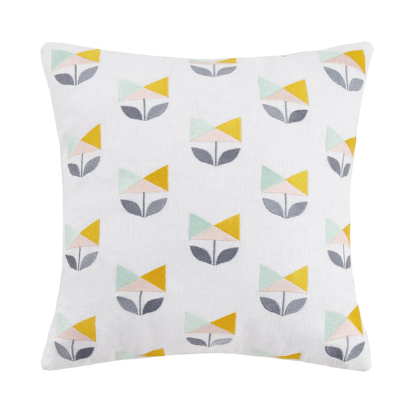 Geo Tulip Embroidered Throw Pillow