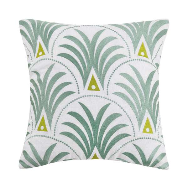 Deco Palm Embroidered Throw Pillow