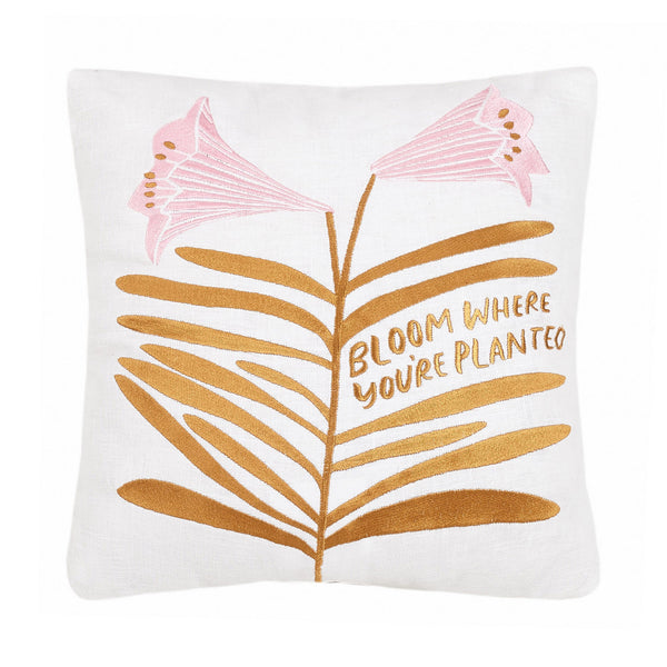 Bloom Where You're Planted Embroidered Throw Pillow