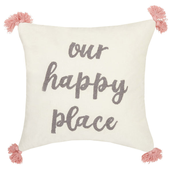 Our Happy Place Embroidered Throw Pillow