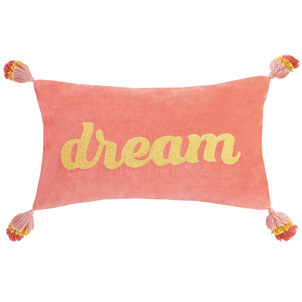 Dream Pink Embroidered Throw Pillow