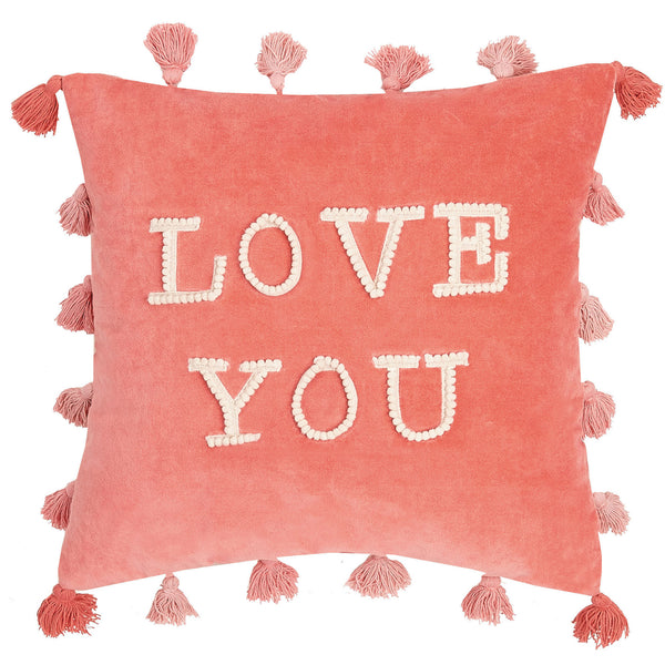 LOVE YOU Pink Embroidered Throw Pillow