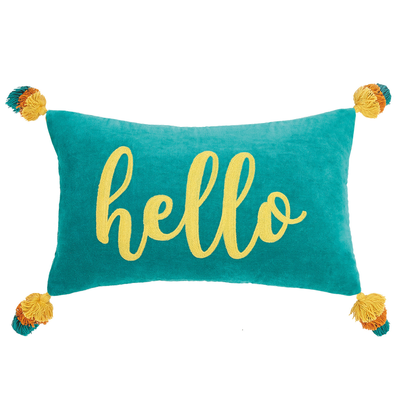 Hello Embroidered Velvet Throw Pillow