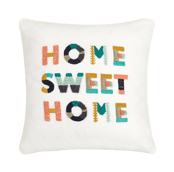 Home Sweet Home Embroidered Colorful Throw Pillow