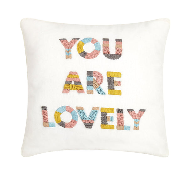 You Are Lovely Embroidered Colorful Throw Pillow