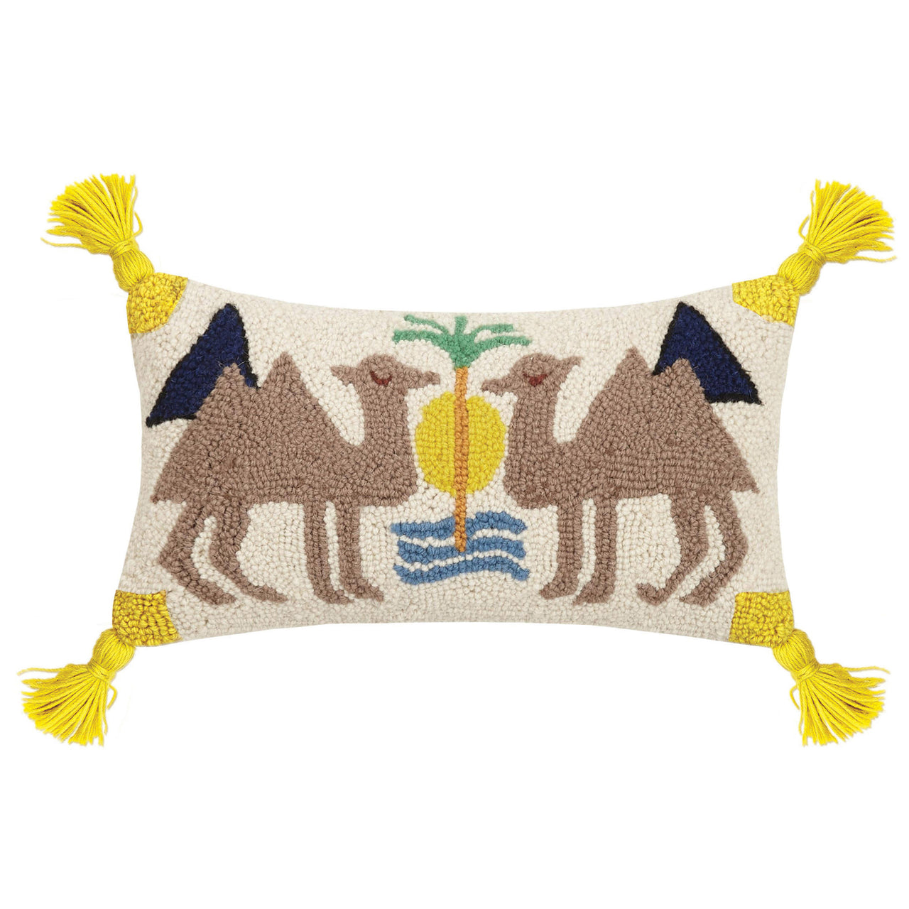 Dune with Tassels Wool Hooked Throw Pillow