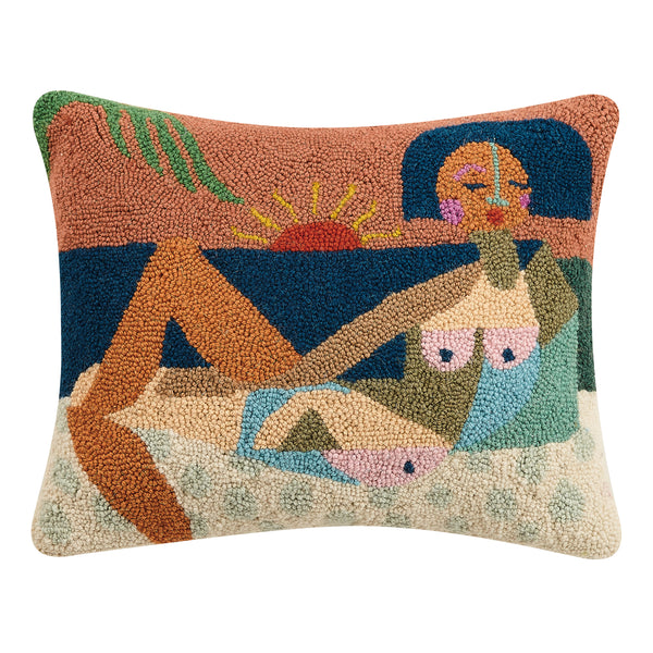 "Nude Beach Hook Pillow, 16""x20"""