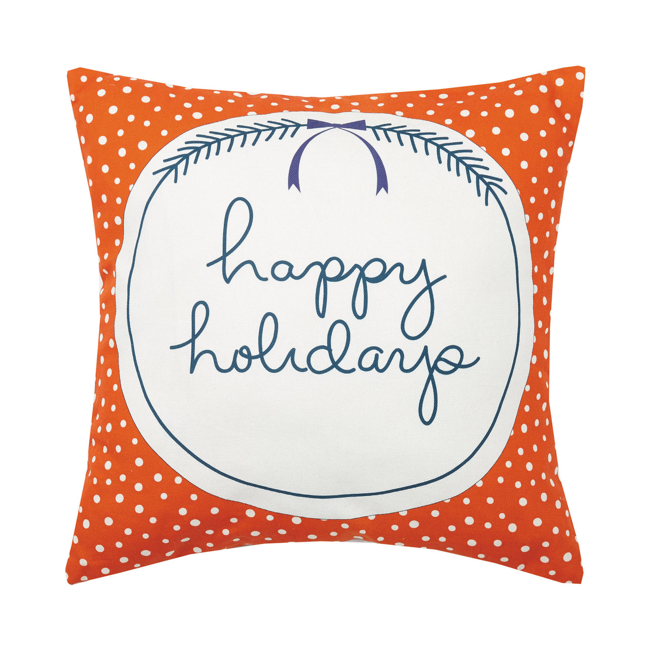 Happy Holidays Canvas Printed Throw Pillow
